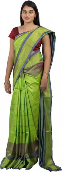 003AB37846 - Parrot green uppada saree in stripes