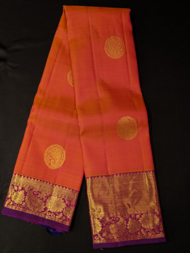 000KANCHI4439PONNU30 - orange kanchipuram silk saree with violet border