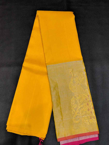 000SILK4518PONNU - yellow soft silk saree