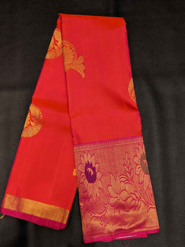 000SILK5005PERU24 -orange pink mixed silk saree