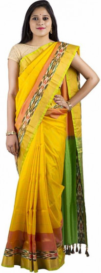 003AB37835 - Lemon yellow uppada saree