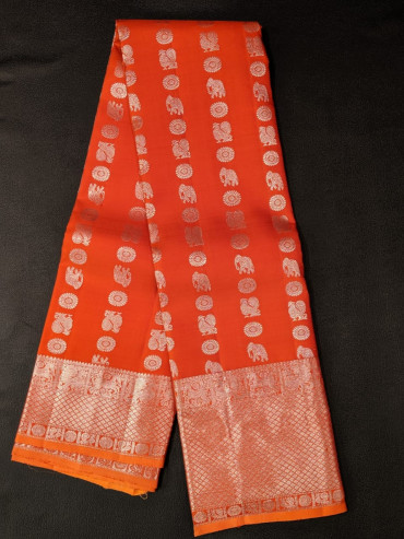 000KANCHI4439PONNU1 - Rust orange kanchipuram silk saree