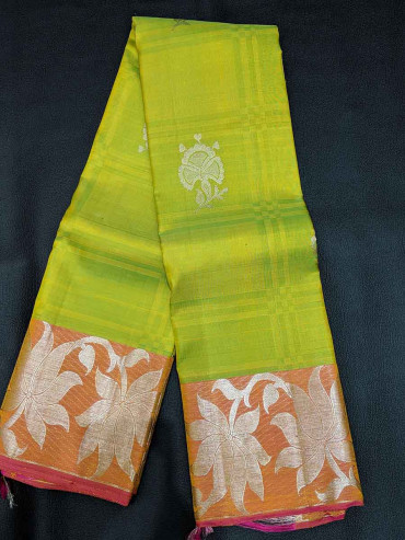 00SILK5003PERU22 -parrot green silk saree