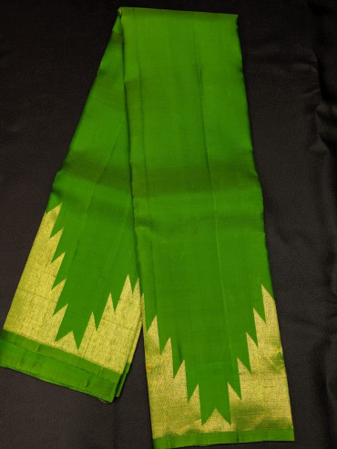 00KANCHI4439PONNU48 - parrot green mustard mix kanchipuram saree