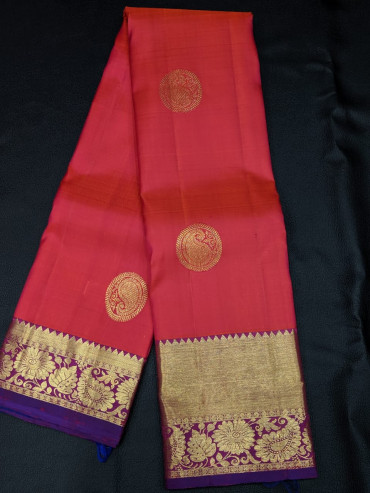 000KANCHI4439PONNU49 - orange pink kanchipuram silk saree