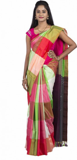 003AB37839 - Multi colour checks uppada saree