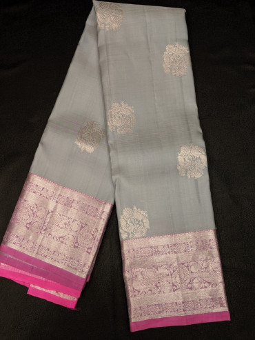 000KANCHI4439PONNU54 -grey kanchipuram silk saree