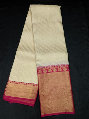 00KANCHI4439PONNU61 - off white kanchipuram silk saree