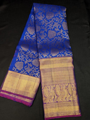 00KANCHI4439PONNU62 - MS blue kanchipuram saree