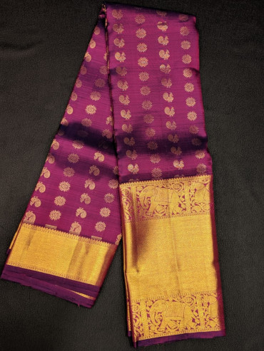00KANCHI4439PONNU85 - magenta kanchipuram wedding saree