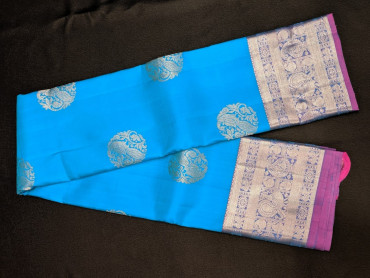 00KANCHI4439PONNU92 - ananda blue colour kanchipuram saree