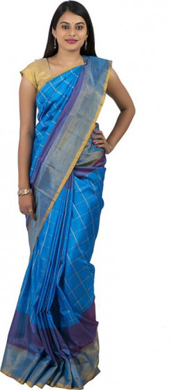 003AB37842 - Ananda blue uppada saree in stripes