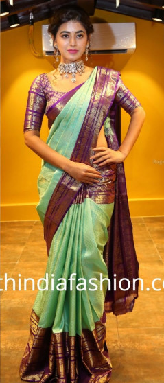 000BRID4006 - key Lime Pie wedding silk saree in amethyst colour border