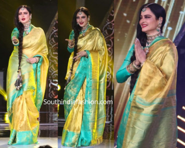 000KANCHI3900PERU17 - Gold kanchipuram saree in ananda blue border