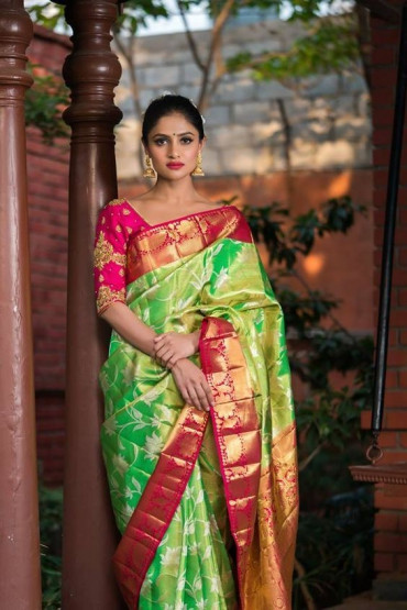 000SILK4495CUSTOM - Pre order parrot green tissue silk saree in pink border