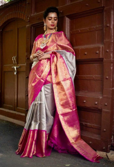 000BRID4006130A - 3 gram gold zari Grey wedding silk saree in 6 inches pink border