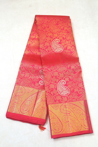 000KANCHI3900PERU7 - maroon pink mix kanchipuram saree in big buttas border