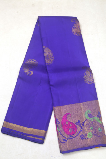 000KANCHI3900PERU8 - blue kanchipuram silk saree in butta peacock body design