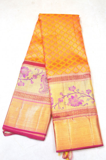 000KANCHI3900PERU9 - gold mustard kanchipuram saree in violet flower at bottom