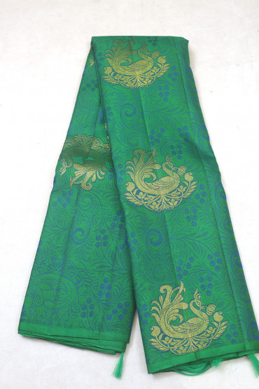 00KANCHI3900PERU64 - peacock green  kanchipuram silk saree in peacock design