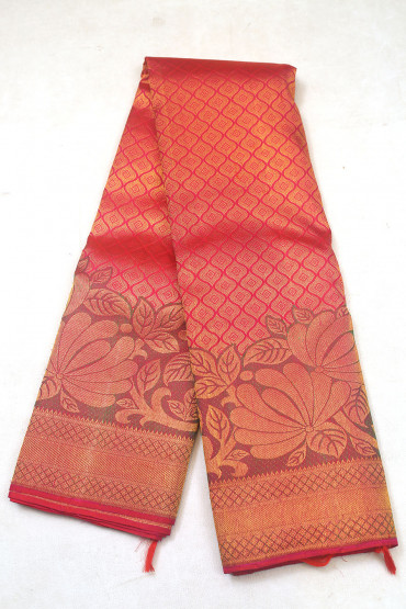 000KANCHI3900PERU65 - maroon pink  kanchipuram saree in leaves designs at bottom