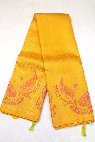 000KANCHI3900PERU66 - yellow kanchipuram silk saree in butta design at bottom