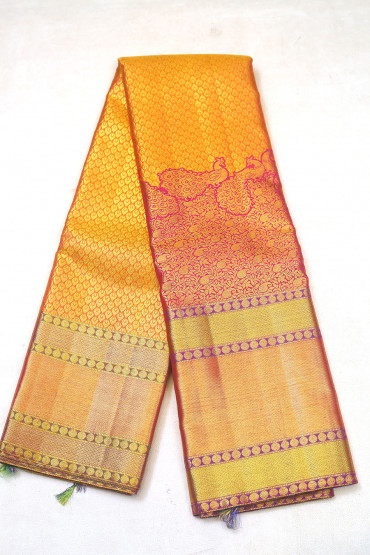 000KANCHI3900PERU68 - mustard gold kanchipuram silk saree in pink colour at bottom