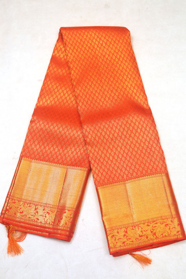 000KANCHI3900PERU70 - orange  kanchipuram saree in brocade design