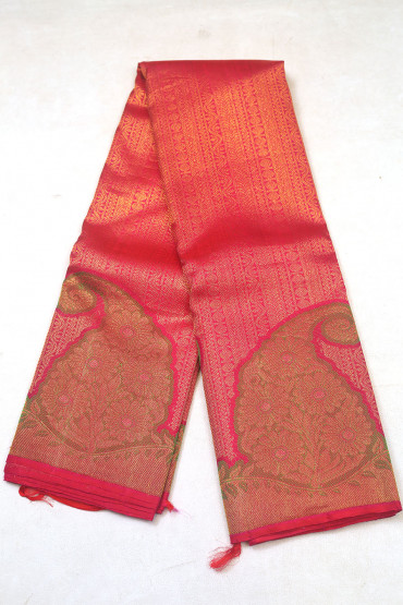 000KANCHI3900PERU71 - maroon pink mix kanchipuram silk saree in big butta flower design
