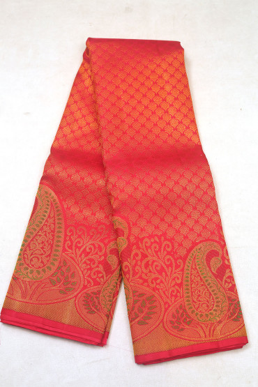 000KANCHI3900PERU72 - red kanchipuram saree in big butta border