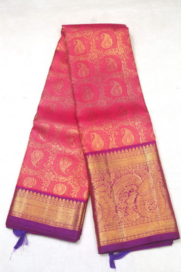 000KANCHI3900PERU74 - pink kanchipuram saree in butta flower design