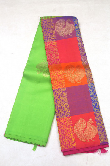 000KANCHI3900PERU76 - rexona green and multi colour checks kanchipuram saree