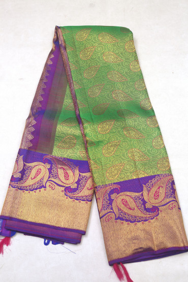 000KANCHI3900PERU77 - parrot green with violet butta border kanchipuram silk saree