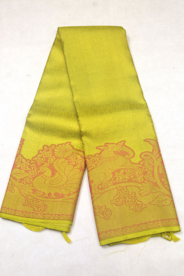 000KANCHI3900PERU78  - parrot green mustard mix  kanchipuram saree in peacock animal design