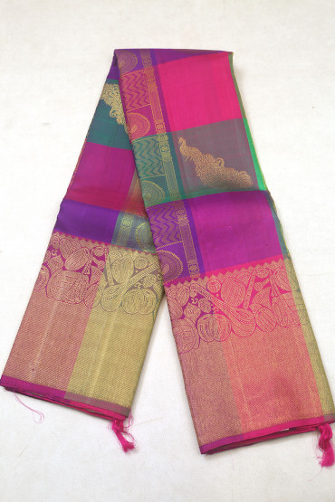000KANCHI3900PERU80 - multi colour checks kanchipuram saree in instrument design border