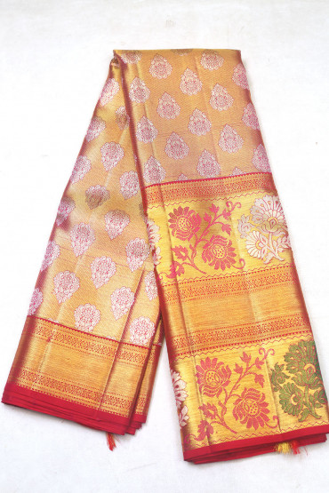 000KANCHI3900PERU83 - offwhite tissue kanchipuram silk saree in flower design border