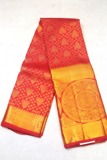000KANCHI3900PERU85 - maroon red mix kanchipuram silk saree in big chakra border