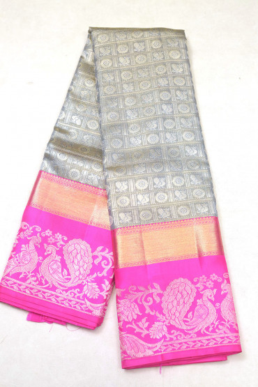 000KANCHI3900PERU86 - Grey with pink peacock design border kanchipuram saree