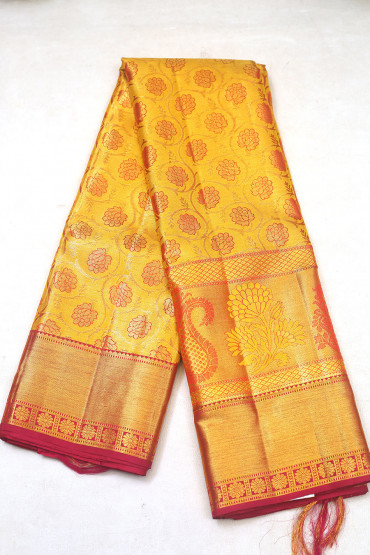 000KANCHI3900PERU88 - mustard gold kanchipuram saree in maroon border