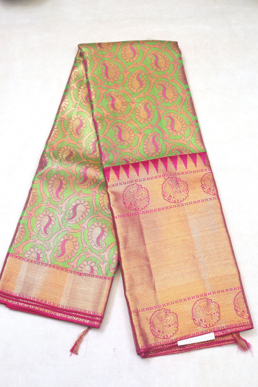000KANCHI3900PERU90 - multi colour tissue kanchipuram saree in butta design body