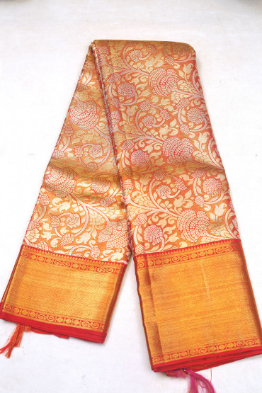 000KANCHI3900PERU91 - light mustard kanchipuram silk saree in flower design