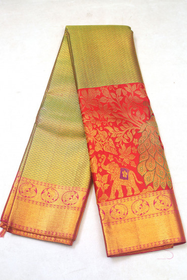 000KANCHI3900PERU96 - green tissue kanchipuram saree in red bottom