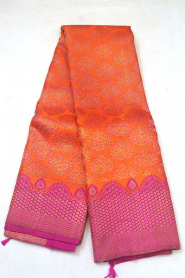 000KANCHI3900PERU97 - rust orange kanchipuram silk saree in pink border