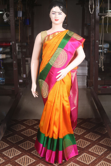 000KANCHI4000AKN103 - orange kanchipuram silk saree with green pink border