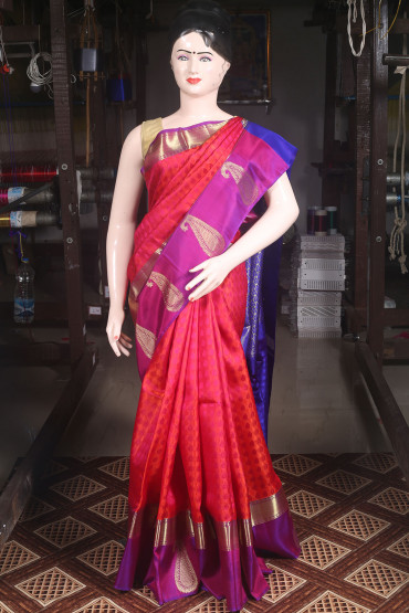 00KANCHI4000AKN102 - pink and purple kanchipuram saree in big butta border