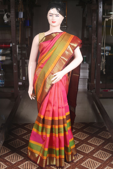 00KANCHI4000AKM23 - pink kanchipuram silk saree in multi colour bottom
