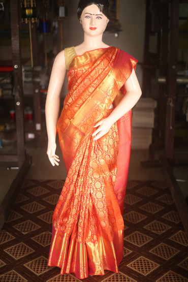 000KANCHI4000AKN001 - orange pink kanchipuram saree in peacock design