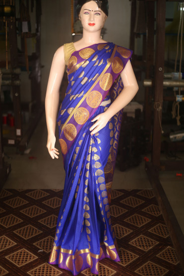 00KANCHI4431AKN7 - Royal blue kanchipuram saree in zari buttas
