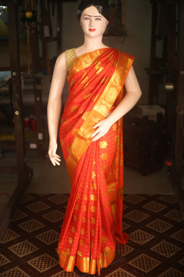 00KANCHI4435AKN11 - reddish orange kanchipuram silk saree