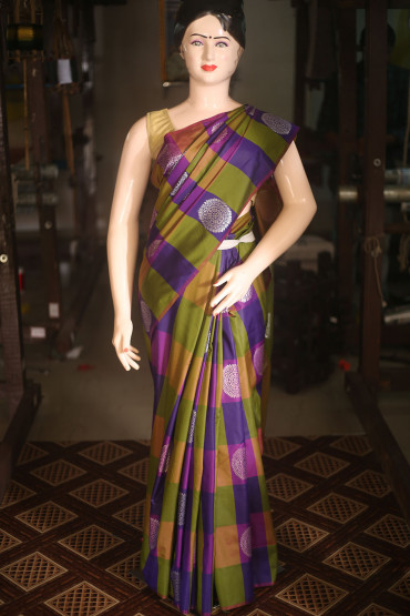 000KANCHI4436AKN14 - multi colour checks kanchipuram saree in silver zari